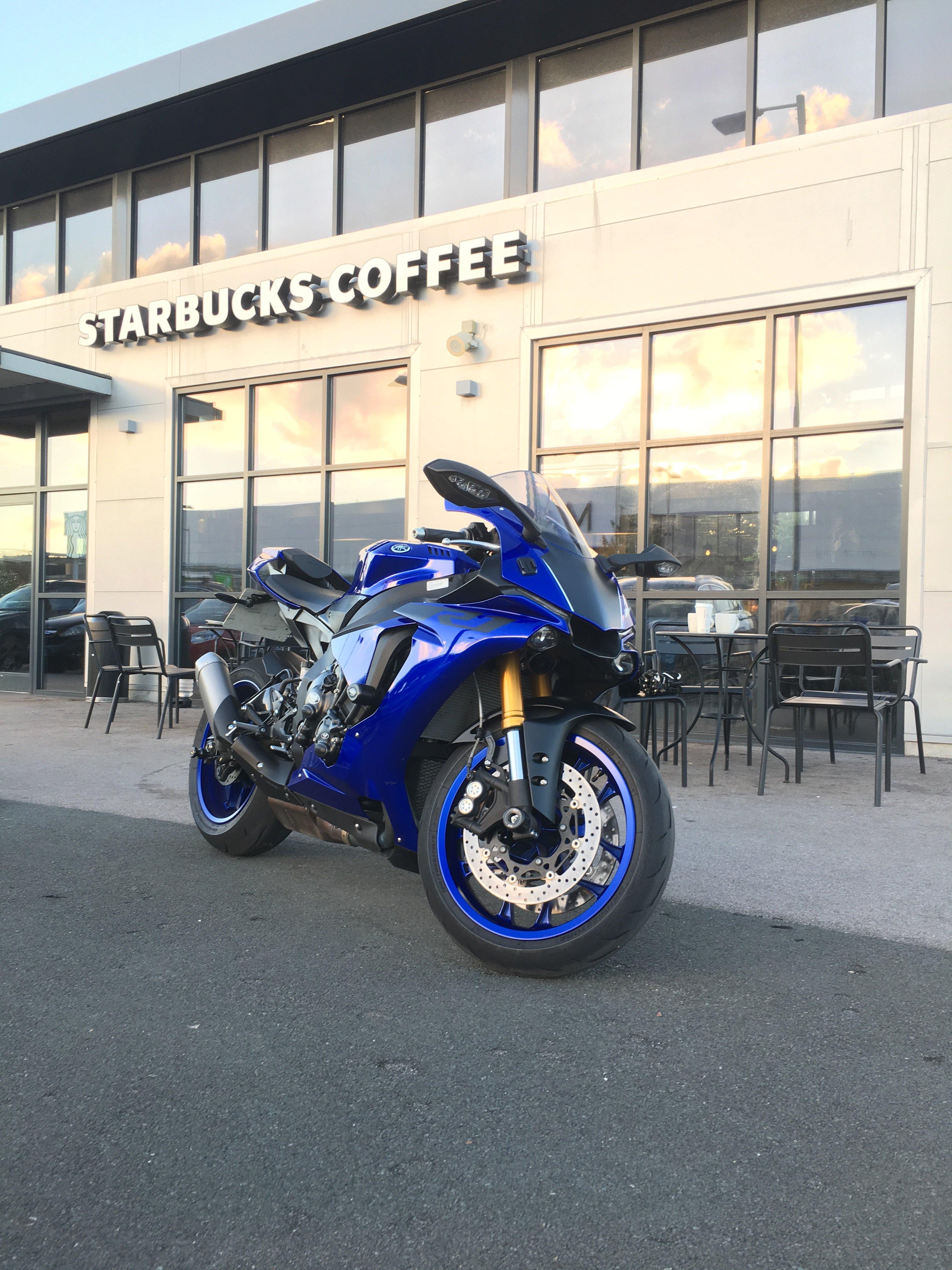 Blue motorcycle at Starbucks